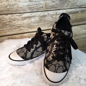 Coach Barrett Black & Ivory Sneakers
